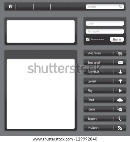 Website design dark gray elements and modules. Vector illustration - stock vector