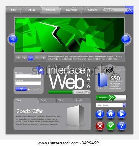 Website Design Elements: Buttons, Form, Slider, Icons, Tab, Menu, Navigation Bar - stock vector