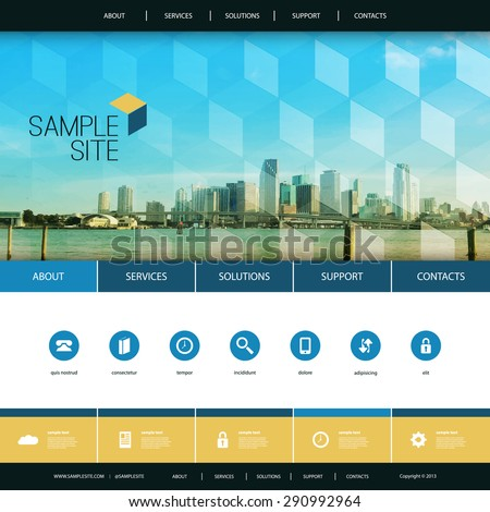 Website Design for Your Business with Miami Skyline Background - stock vector