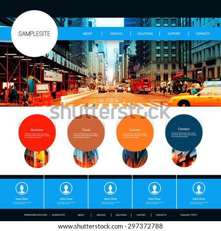 Website Design for Your Business with One Street of New York City Image Background - stock vector