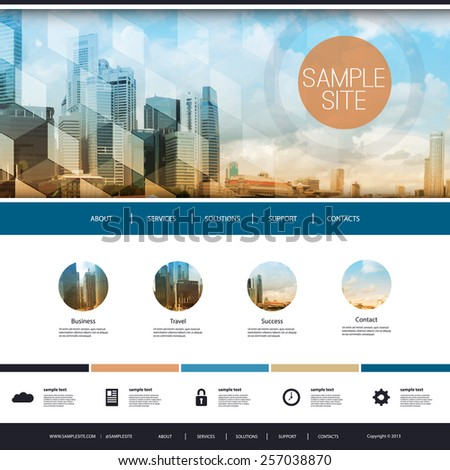 Website Design for Your Business with Skyscraper Background  - stock vector