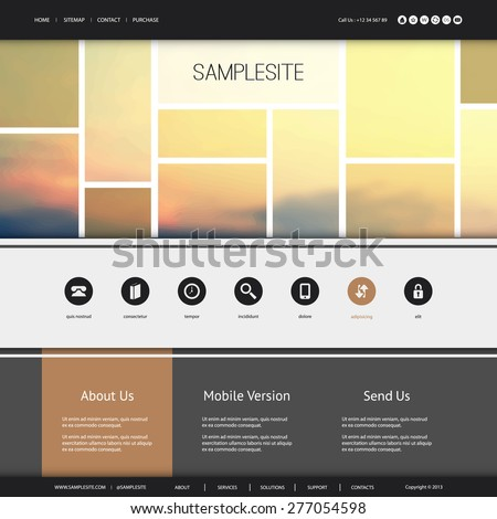 Website Design for Your Business with Sunset Image - stock vector