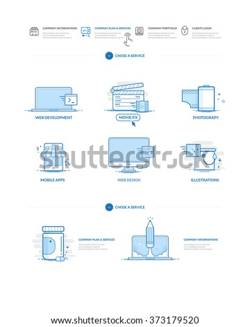 Website design model templates. Website design model templates with navigation and icons set. - stock vector