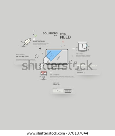 Website design model templates with navigation and icons set. - stock vector