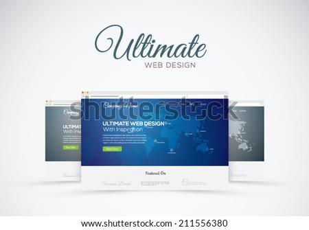 Website design showcase in web browser vector concept - stock vector