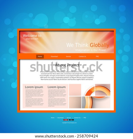 Website design template, easy editable - stock vector