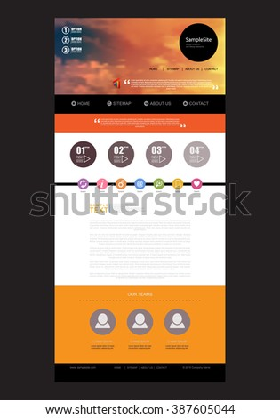 Website Design Template for Your Business with Blurred Sky Photo Background Flat icons.Template for computing web and app. Vector illustration. Vector illustration. - stock vector