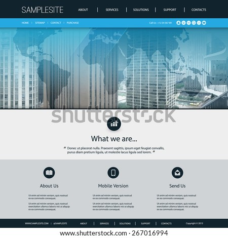 Website Design Template for Your Business with Chicago Skyline Image Background - stock vector
