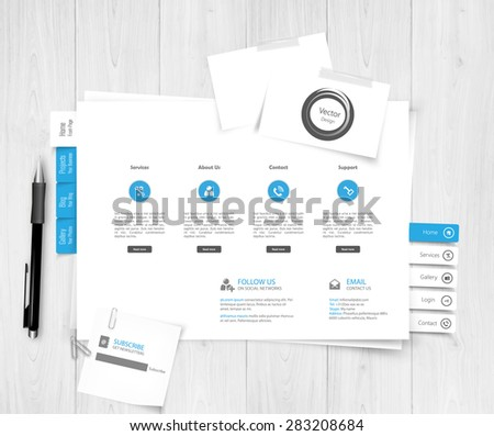 Website design template,paper sheet, papers and cards - stock vector