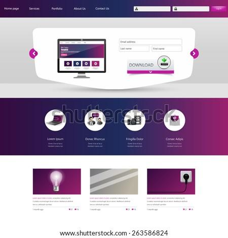 Website Design Template. Vector illustration. - stock vector
