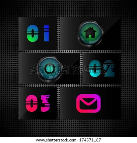 Website design template, web elements with numbers and website decorative icons - home icon, power icon and mail icon, stock vector