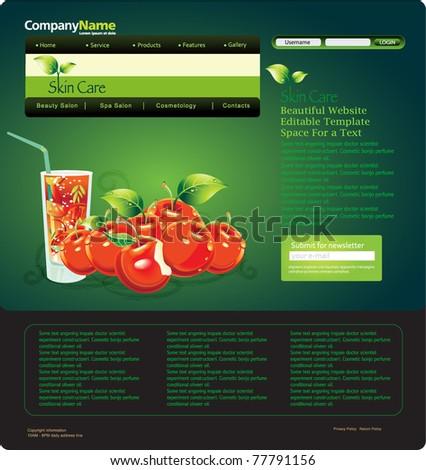 Website design template with fresh apple cherry. Vector illustrator. - stock vector