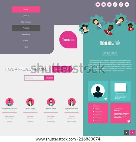 Website Design Template with UI Elements kit, Flat Design Concept. - stock vector