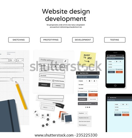 Website development - flat design illustration - stock vector