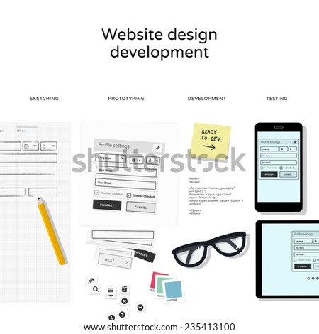 Website development tools isolated on white background - flat design illustration - stock vector