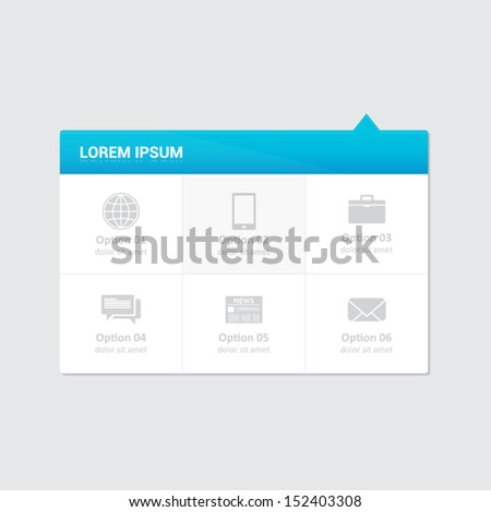 Website element - 6 options dropdown menu with blue heading - stock vector