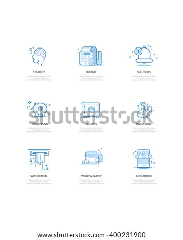 Website elements: Commerce financial and business icons set - stock vector