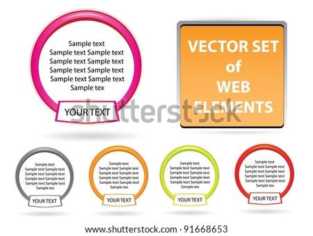 website elements design elements label set. Vector tags. - stock vector
