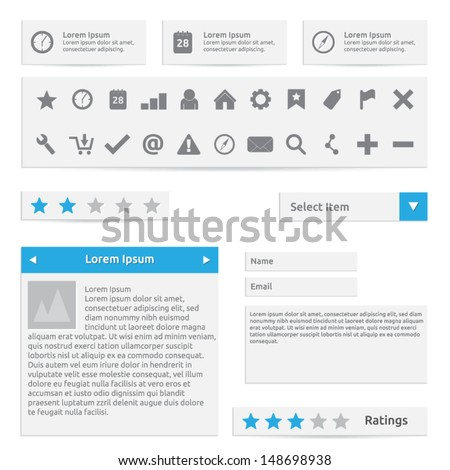 Website elements, form, icons and options | color white gray and blue | abstract vector design | web template - stock vector