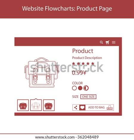 website flowcharts example of the product bag in a simplified form and minimum - Website Flowcharts