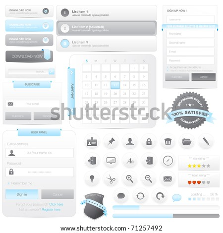 Website frame elements pack with icons set - stock vector