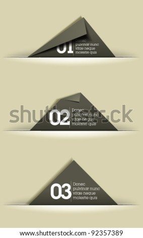 Website, graphic design, memory cards in cut paper - gray card template - stock vector