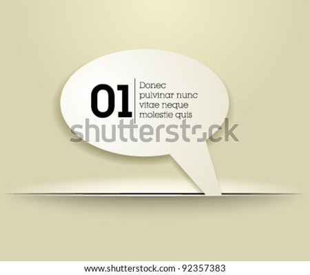 Website, graphic design paper craft, bubble tag - white template - stock vector