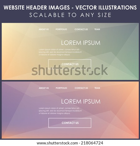website header images design- modern blurred colorful transparent background vector illustrations - stock vector
