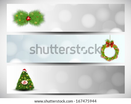 Website header or banner set design for Merry Christmas with stylish Xmas trees, fir tree and Xmas ball on shiny grey and blue background.