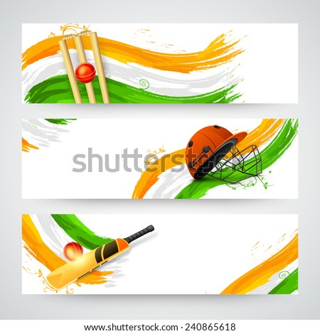 Website header or banner set for Cricket with national flag colors, bat, ball and helmet. - stock vector