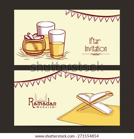 Website header or banner set for holy month of muslim community, Ramadan Kareem celebration. - stock vector