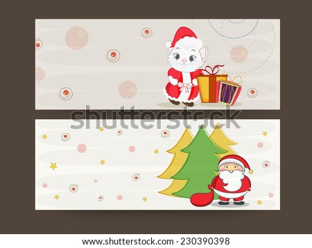 Website header or banner set for Merry Christmas celebrations