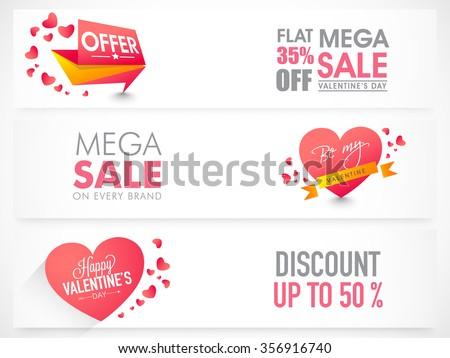 Website header or banner set of Mega Sale with Discount Offer for Happy Valentine's Day celebration. - stock vector