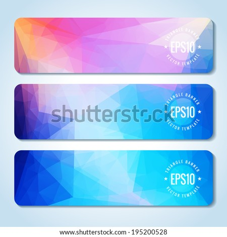 Website header or banner set of triangle rainbow texture - stock vector