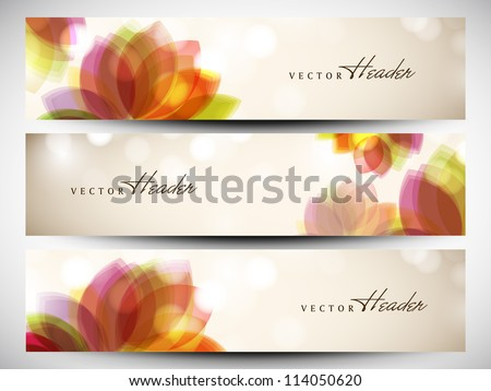 Website header or banner set with floral design. EPS 10. - stock vector
