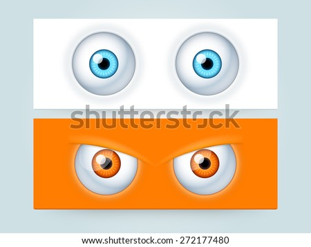 Website header or banner set with scary monster eyes. - stock vector