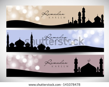 Website header or banner set with view of mosque  on shiny abstract background for Ramadan Kareem. - stock vector