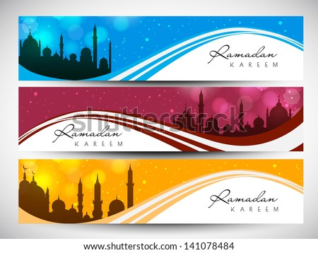 Website header or banner set with view of mosque on shiny waves for Ramadan Kareem. - stock vector