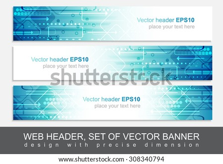 Website header or banner, vector abstract design template with technological pattern. - stock vector