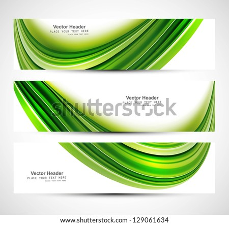 Website header stylish green wave colorful set vector illustration - stock vector