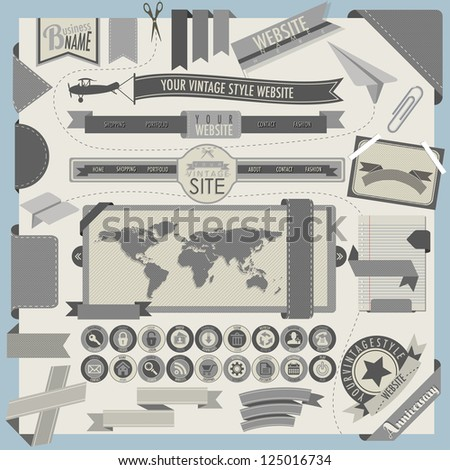 Website headers and navigation elements in retro vintage style.  18 universal icons. Creative tool tips for retro web design. - stock vector