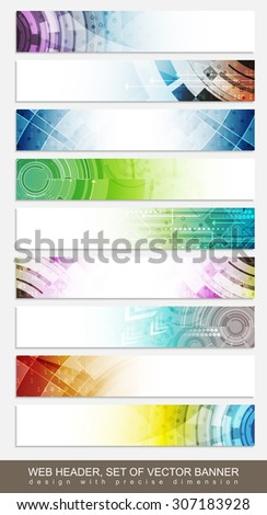 Website headers, banners with colorful abstract pattern - set/vector illustration for your project or website presentation - stock vector