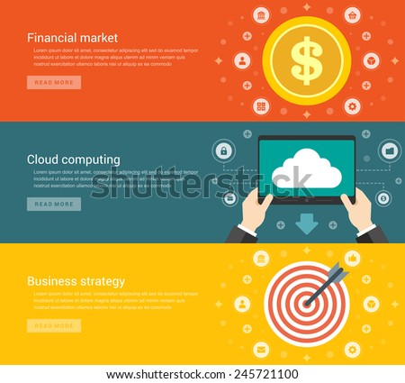 Website Headers or Promotion Banners Templates and Flat Icons Design. Financial market dollar coin, Cloud computing tablet computer, Business strategy dart board and arrow. Vector Illustration.  - stock vector