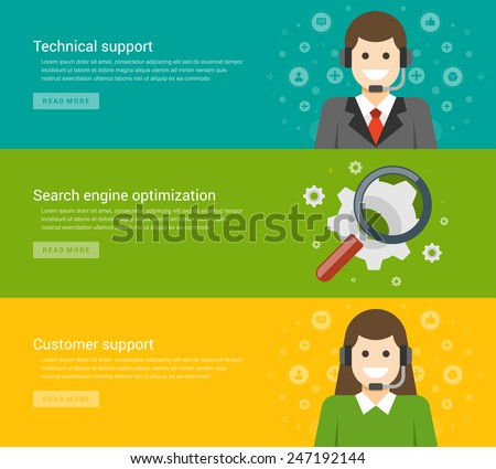 Website Headers or Promotion Banners Templates and Flat Icons Design. Technical support manager man, Search engine optimization, Customer support consultant woman. Vector Illustration.  - stock vector