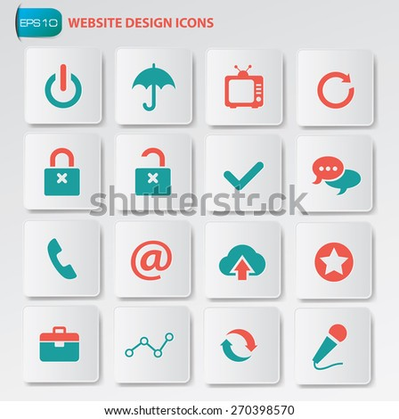 Website icon set on clean buttons - stock vector