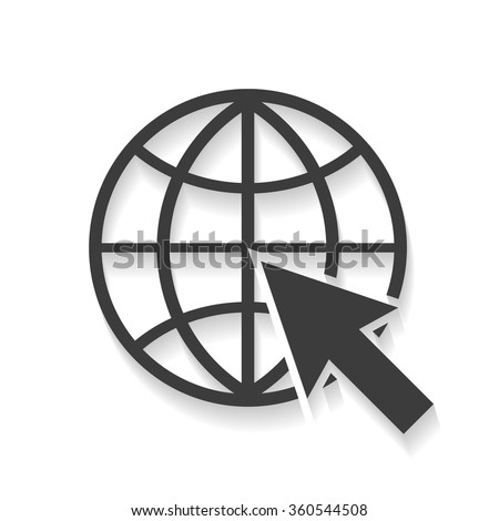 Website Icon world globe with shadow  stylish design - stock vector