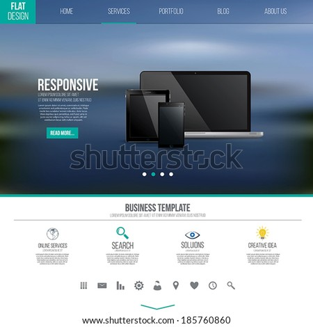 Website interface template design. Vector - stock vector