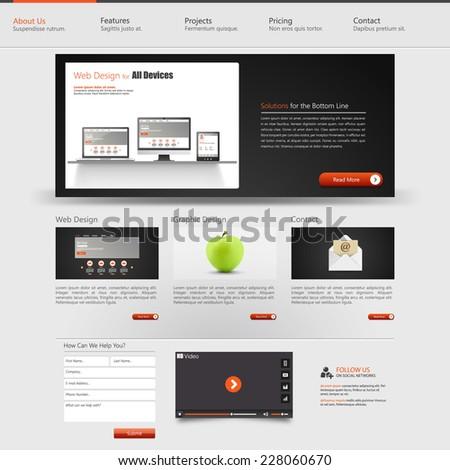 Website interface template design. Vector  - stock vector