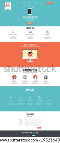 Website interface template- one page. Modern flat style. Vector - stock vector