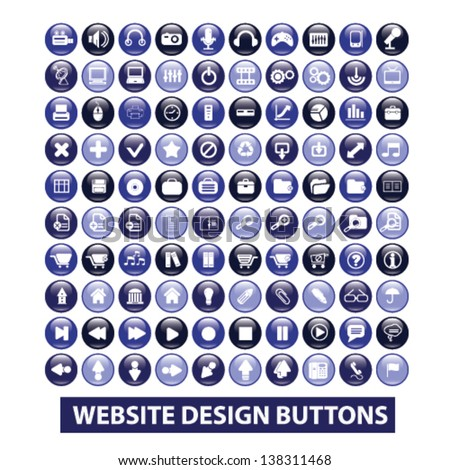 website internet design glossy circle isolated buttons set, vector - stock vector